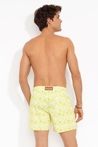 "BROWNLEE Peter Classic Stretch Boardshorts - Yellow Mens Swim | Yellow| Peter Classic Stretch Boardshorts - Yellow. Back View.  Engineered Swimsuit  Made from poly/nylon stretch poplin Fully lined mesh boxer-brief  Elastic waistband  Contrasting drawstring with bronze tipping Jetted side seam pockets Flat felled seams Inseam: 5 ½"" Made in the USA"