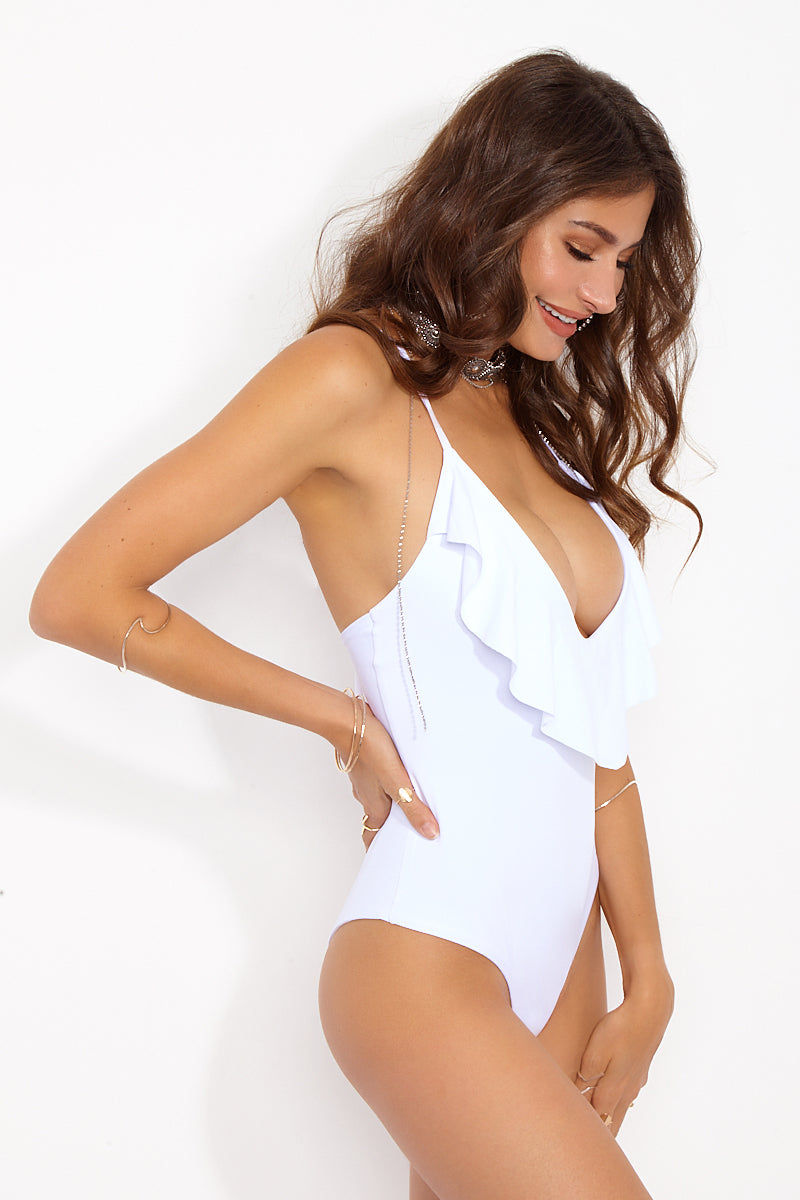 MAYLANA Emilie One Piece - White One Piece | White| Maylana Emilie One Piece Side View Deep-V Plunging Neckline Loose Ruffle Overlay At Bust Thin Shoulder Straps Adjustable Strappy Crisscross Back Keyhole Cut Out at Low Back Cheeky Coverage