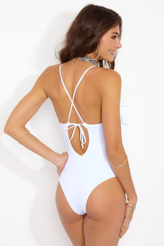 MAYLANA Emilie One Piece - White One Piece | White| Maylana Emilie One Piece Back View Deep-V Plunging Neckline Loose Ruffle Overlay At Bust Thin Shoulder Straps Adjustable Strappy Crisscross Back Keyhole Cut Out at Low Back Cheeky Coverage