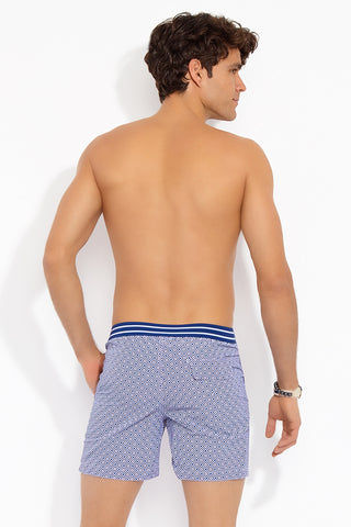 AQUA ET SOL Elastic Classic Shortie Boardshorts (Men's) - Midnight / Dusk Mens Swim | Midnight/Dusk| Aqua Et Sol Elastic Classic Shortie Boardshorts - Midnight / Dusk. Back View. Front snaps with zipper. Inside drawstring. Elastic back waist. Back pocket with magnetic closure and zipper.