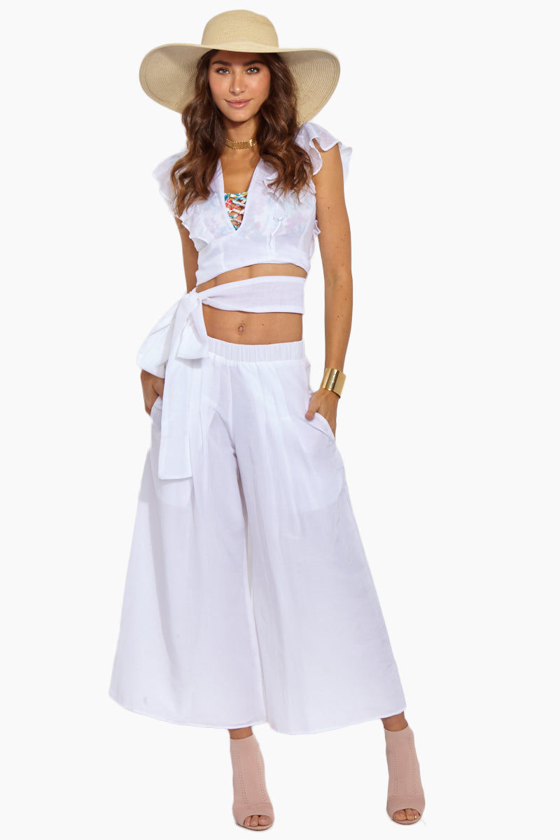 SOAH Coco Pants - White Pants | White|Coco Pants - Features:  Culottes Pants Wide leg  Elastic pleated waist detail Side seam pockets Silk/ Cotton blend Made in the USA Dry Clean