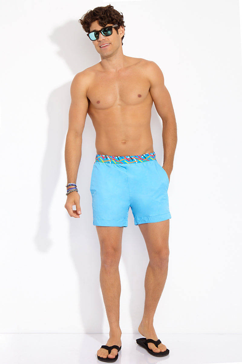 1b53bca82ebd3 STTARWISH Ula Classic Length Swim Trunks - Aqua Blue Aqua Pop Art Mens Swim