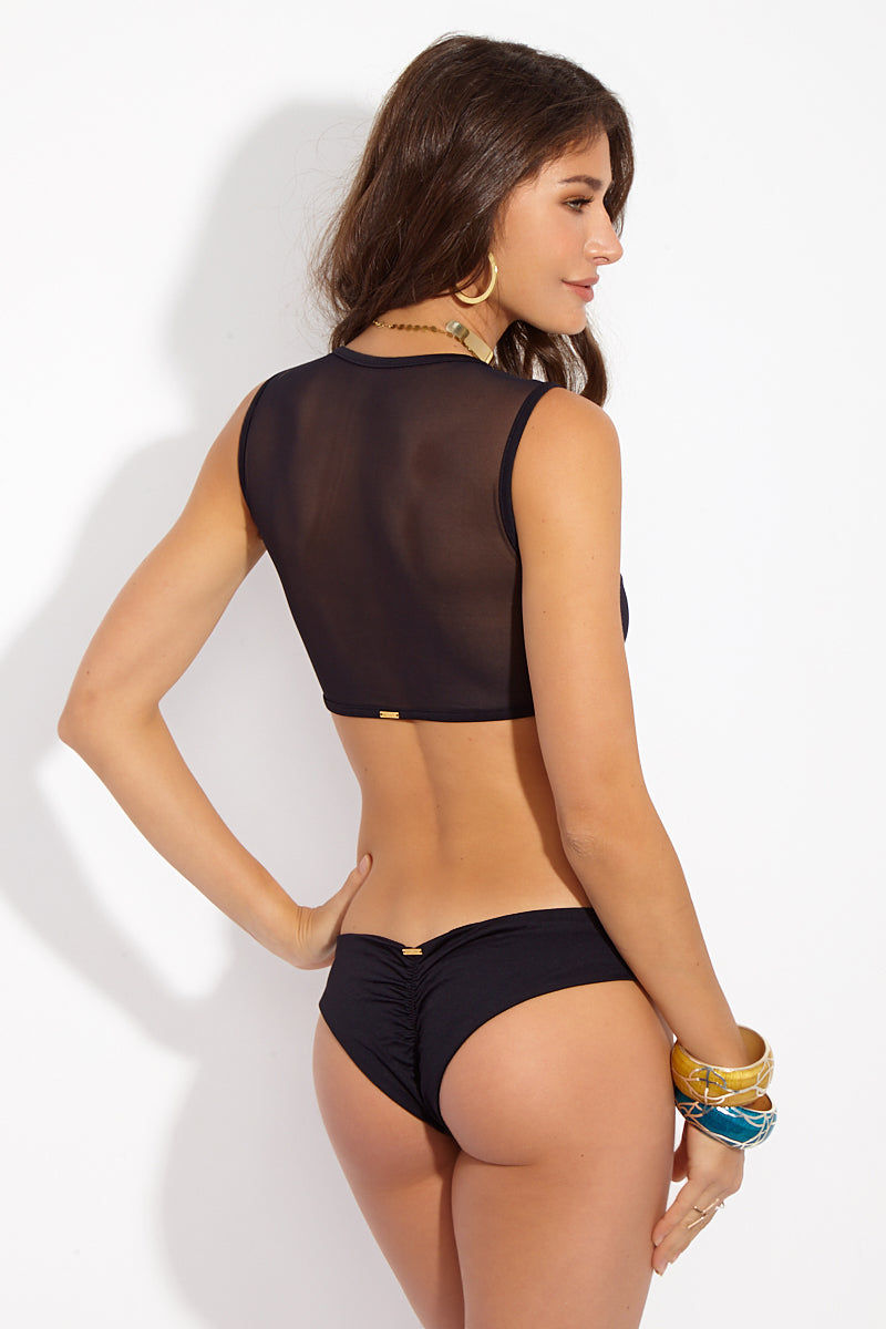 MAYLANA Naia Top - Black Bikini Top | Black| Maylana Naia High Neck Mesh Bikini Top Back View Mesh Detail Opaque Panels at Front to Cover Breasts Wide Shoulder Straps Crop Top Style Mesh Back