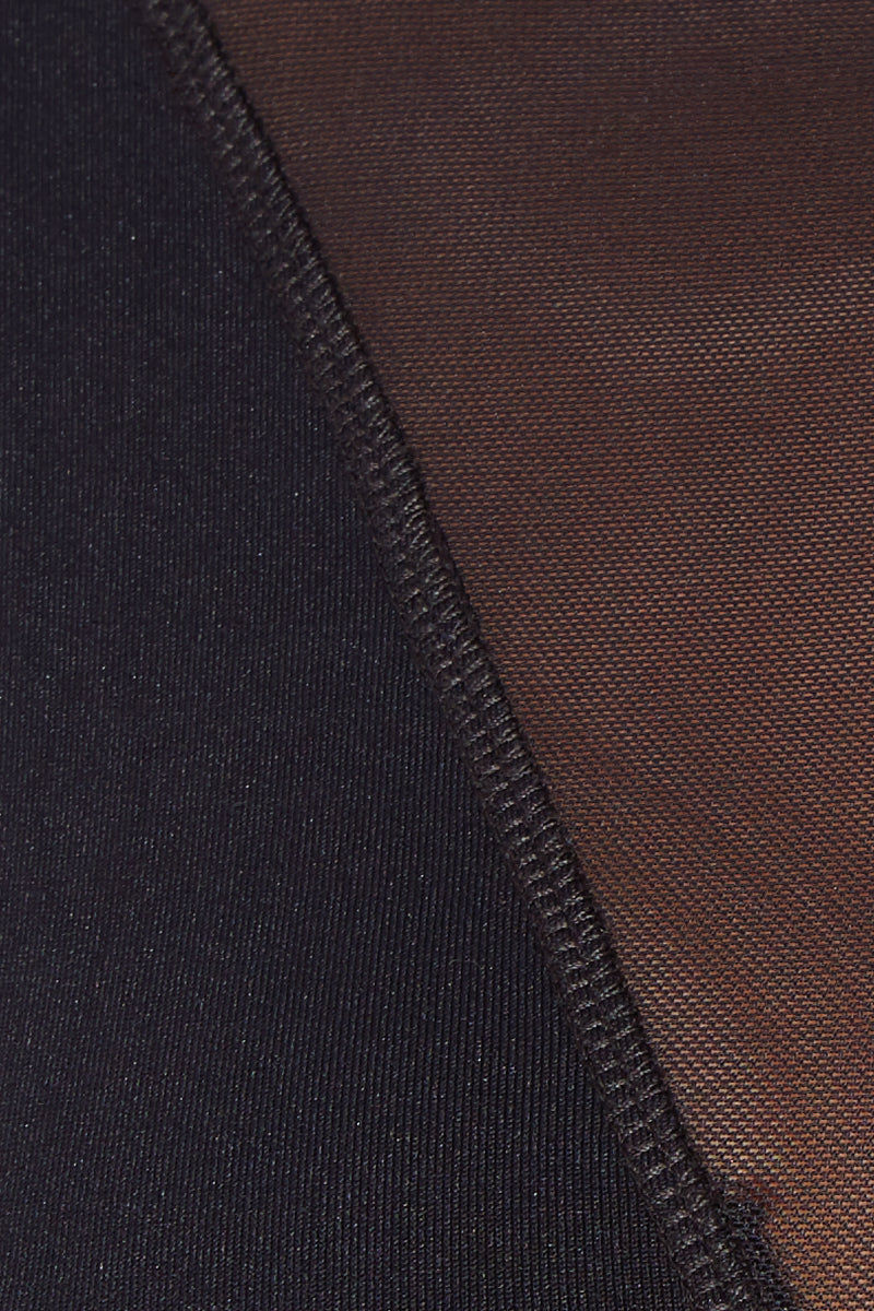 MAYLANA Naia Top - Black Bikini Top | Black| Maylana Naia High Neck Mesh Bikini Top Detail View Mesh Detail Opaque Panels at Front to Cover Breasts Wide Shoulder Straps Crop Top Style Mesh Back