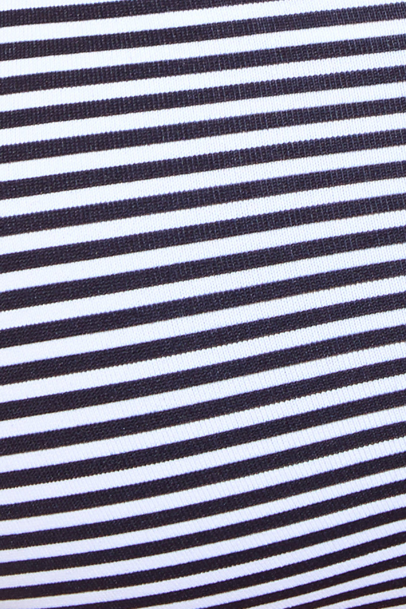 MAYLANA Marvie Top - Black Stripes Bikini Top | Black Stripes| Maylana Marvie Top Detail View Bralette Style Bikini Top Black and White Stripes Scoop Neckline Thin Shoulder Straps Non Adjustable Strappy Back Non Padded Adjustable Ties at Back