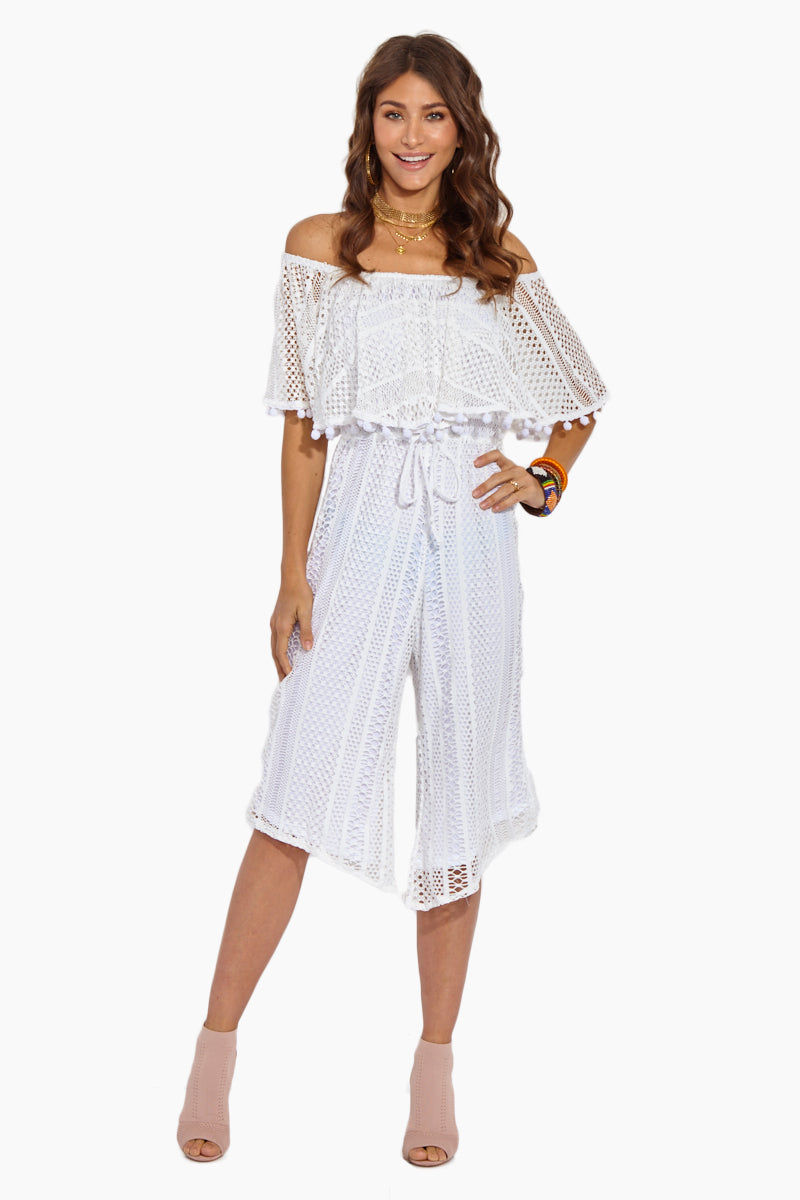 SOAH Emma Lace Jumpsuit - White Jumpsuit | White|Emma Lace Jumpsuit - Features:  Off Shoulder Jumpsuit Lace Overlay  Pompom Detail  Drawstring Tie  Angled Cut Pants White Lace  Nylon  Made in the USA