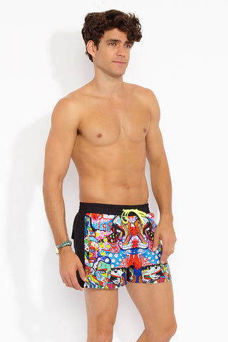 "J.LIN Runner Square Cut Swim Trunks - Graffiti Multicolor Print Mens Swim | Graffiti Multicolor Print| J. Lin Runner Square Cut Swim Trunks - Graffiti Multi Color. Front Side View. Shorter-length  Printed front panel  Two front forward seam pockets Back snap-fastening flap pocket  Elastic waistband  Drawstring with white mesh lining  Loose fit leg opening  100% Polyester  Model wears a M. Model measures 34"", height 6'1""/185cm."