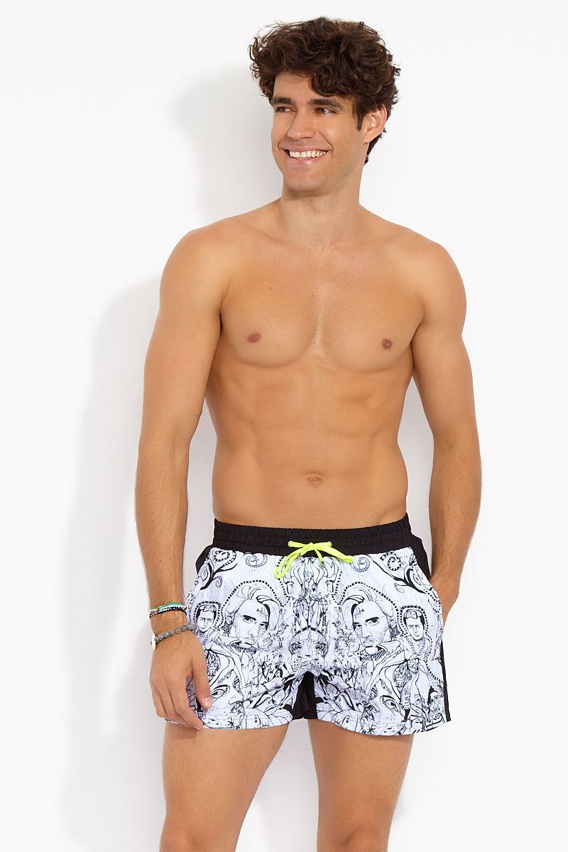 """J.LIN Runner Square Cut Swim Trunks - Graffiti Ink Print Mens Swim 
