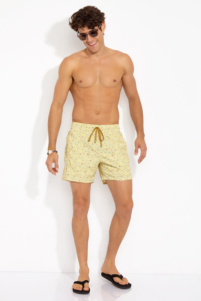 "BROWNLEE Roger Classic Stretch Boardshorts - Yellow Mens Swim | Yellow| Brownlee Roger Classic Stretch Boardshorts - Yellow. Front View. Engineered Swimsuit  Made from poly/nylon stretch poplin Fully lined mesh boxer-brief  Elastic waistband  Contrasting drawstring with bronze tipping Jetted side seam pockets Flat felled seams Engineered Swimsuit  Inseam: 5 ½"" Made in the USA"