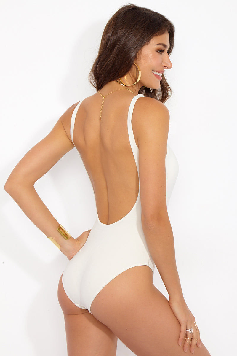 DOLCE VITA Macrame One Piece - Cream One Piece | Cream| Dolce Vita Macrame One Piece Back View