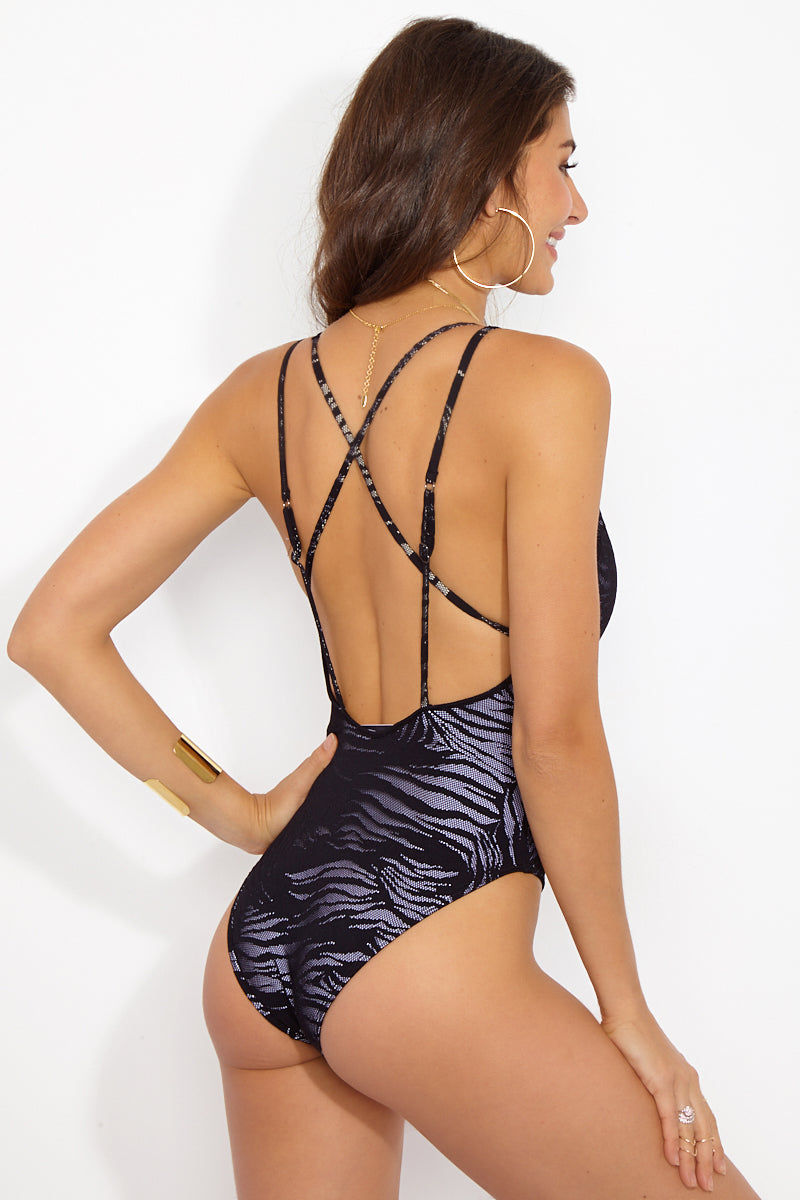 PRISM Mykonos Deep-V One Piece Swimsuit - Zebra Mesh One Piece | Zebra Mesh| Prism Mykonos One Piece Back View Features:  Plunging neckline  Double straps that cross over in the back  High cut let  Moderate coverage