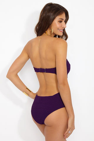 PRISM Forte Dei Marmi U-Bar One Piece Swimsuit - Plum Purple One Piece | Plum Purple| PRISM Forte Dei Marmi  U Bar One Piece Swimsuit - Plum Purple Features:  U-bar detail Strapless one piece Open back detail Back hook closure High cut leg Moderate coverage Textured fabric