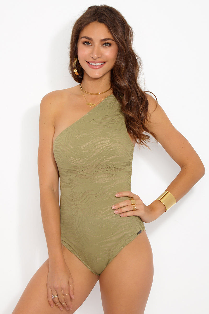 PRISM South Beach One Piece - Taupe Zebra Print One Piece | Taupe Zebra Print| Prism South Beach One piece Front View