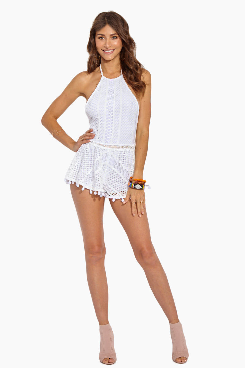 SOAH Sofia Lace Romper - White Romper | White|Sofia Lace Romper - Features:  High Neckline  Halter Neck Tie  Lace Overlay  Pompom Trim Detail  Nylon  Hand wash only  Made in the USA
