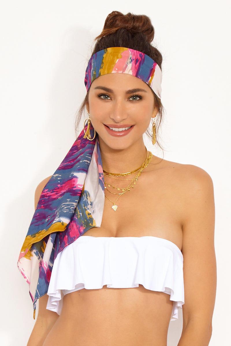 NAMJOSH Watercolor Headscarf Hair Accessories   Watercolor  Namjosh Watercolor Headscarf Model View