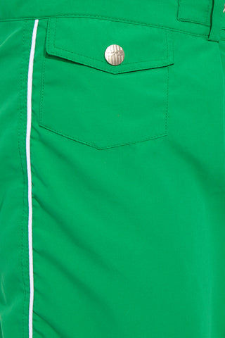 J.LIN Sailor Mid Length Swim Trunks - Crisp Green Mens Swim | Crisp Green| J. Lin Sailor Mid Length Swim Trunks - Crisp Green. Detailed View.  Mid-length  Buckle closure at center front  Forward seam with white pipping Snap front pocket, open back pocket White stretch lining   100% Polyester
