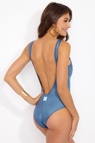 PANAREA Valentina One Piece - Steel Blue One Piece | London Eye| Panarea Valentina One Piece - Steel Blue Back View