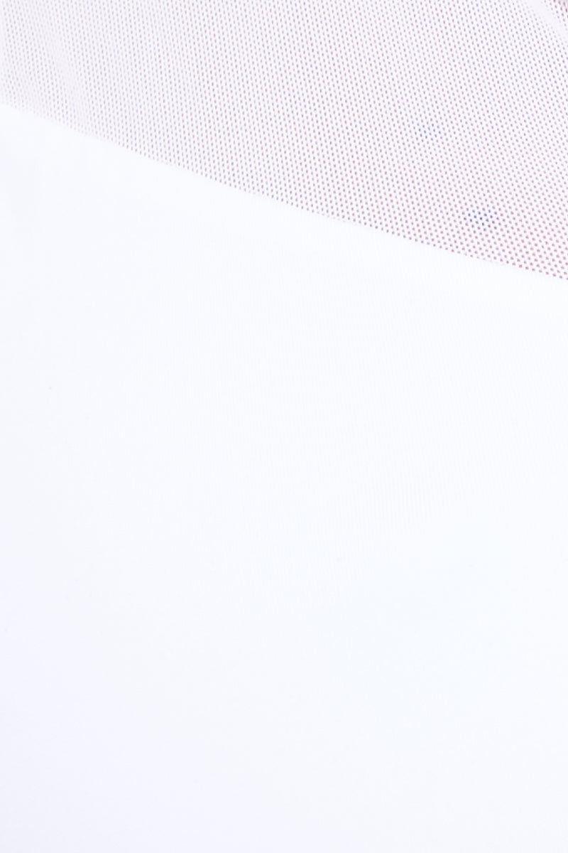 STELLAR DUST Vega Top - White Bikini Top | White| Stellar Dust Vega Top - White Close Up View Raceback Bikini Top Zipper Front  Hood with Adjustable Ties  Mesh Shoulder Panels  Elastic Bra Band Fully Lined  Nylon/Spandex/Mesh