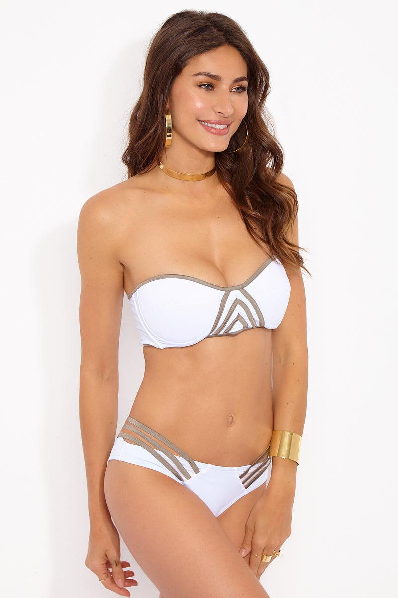 PANAREA Nicoletta Top Bikini Top | Bianco/Tortora| Panarea Nicoletta Top Side View