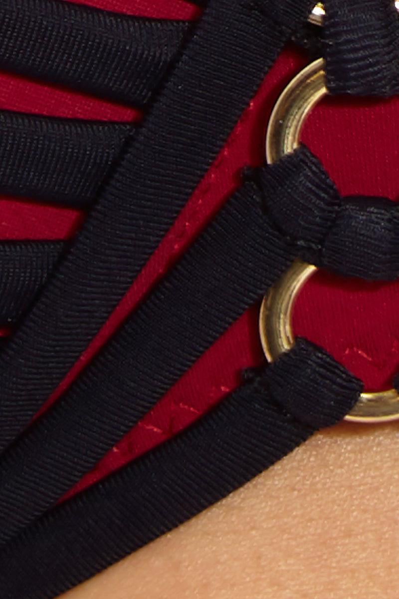 MOEVA Lucy Bikini Top - Bordeau/Black Bikini Top | Bordeau/Black| MOEVA Lucy Bikini Top Detail View