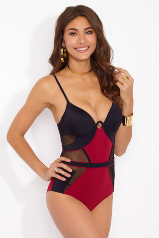 MOEVA Sydney Color Block Mesh Underwire One Piece Swimsuit - Black/Berry Red One Piece | Black/Berry Red| Moeva Sydney Color Block Mesh Underwire One Piece Swimsuit - Black/Berry Red Lingerie inspired one piece bikini in a colorblocked Red/Black with mono-wire and non-removable molded foam cups provide good support to the bust while delivering a unique style. Side and front panel mesh detailing contour and define your waistline for a slimming appearance. Adjustable straps allow for a more secure fit and lift. Full coverage Front View