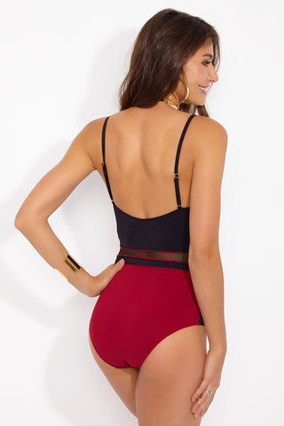 MOEVA Sydney Color Block Mesh Underwire One Piece Swimsuit - Black/Berry Red One Piece | Black/Berry Red| Moeva Sydney Color Block Mesh Underwire One Piece Swimsuit - Black/Berry Red Lingerie inspired one piece bikini in a colorblocked Red/Black with mono-wire and non-removable molded foam cups provide good support to the bust while delivering a unique style. Side and front panel mesh detailing contour and define your waistline for a slimming appearance. Adjustable straps allow for a more secure fit and lift. Full coverage Back View