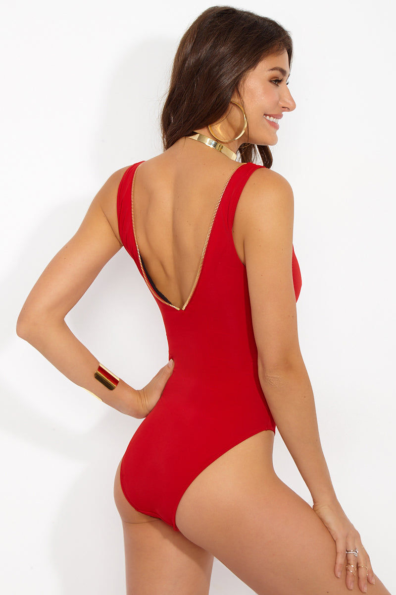 OYE SWIMWEAR Lea Sporty Deep V One Piece Swimsuit - Red One Piece   Red  Oye Swimwear Lea Sporty Deep V One Piece Swimsuit - Red Features: Sporty sexy V neck OYE Lea One Piece in fire engine red with open back and adjustable front zipper Front View
