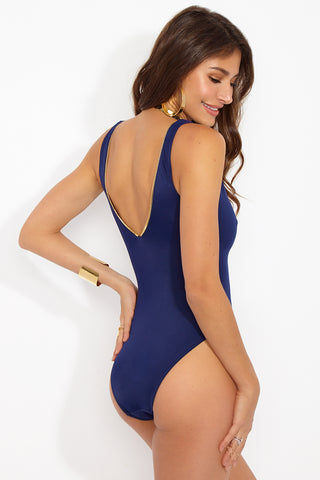 OYE SWIMWEAR Lea Sporty Deep V One Piece Swimsuit - Navy One Piece | Navy| Oye Swimwear Lea Sporty Deep V One Piece Swimsuit - Navy. Features: Sporty sexy V neck OYE Lea One Piece in navy with open back and adjustable front zipper Front View