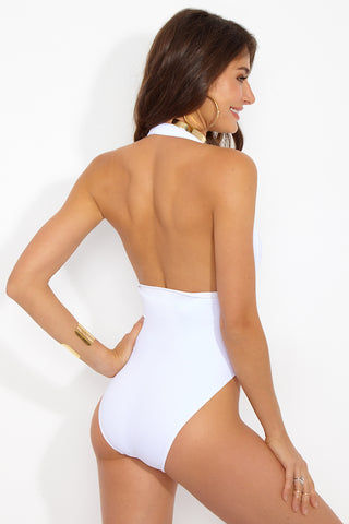 OYE SWIMWEAR Roman Plunge One Piece Swimsuit - White One Piece | White|Oye Swimwear Roman Plunge One Piece Swimsuit - White. Features: White deep plunging OYE Roman Plunge One Piece with criss-cross bands that enhance the waistline Front View