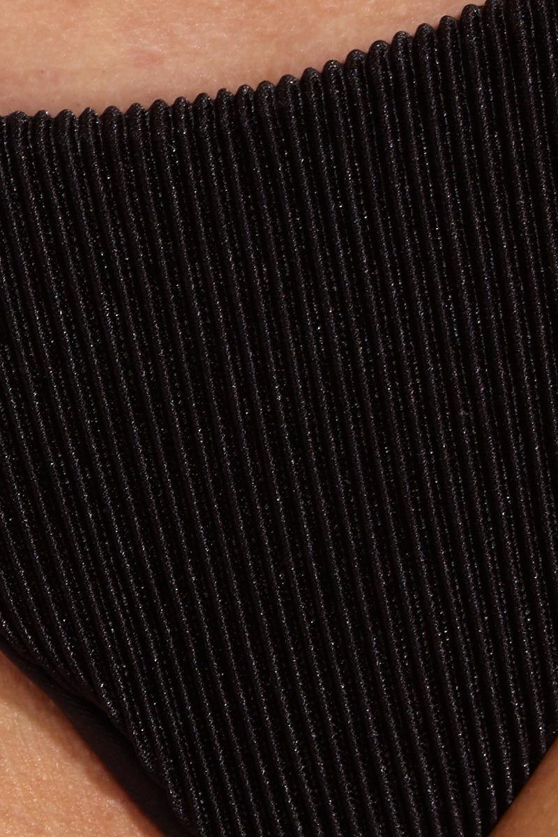 BLUE LIFE Paradise Skimpy Bikini Bottom - Black Bikini Bottom | Black| Blue Life Paradise Skimpy Bottom - Black Close Up View Skimpy Coverage Skinny Side Straps Pleated Fabric  Made in USA