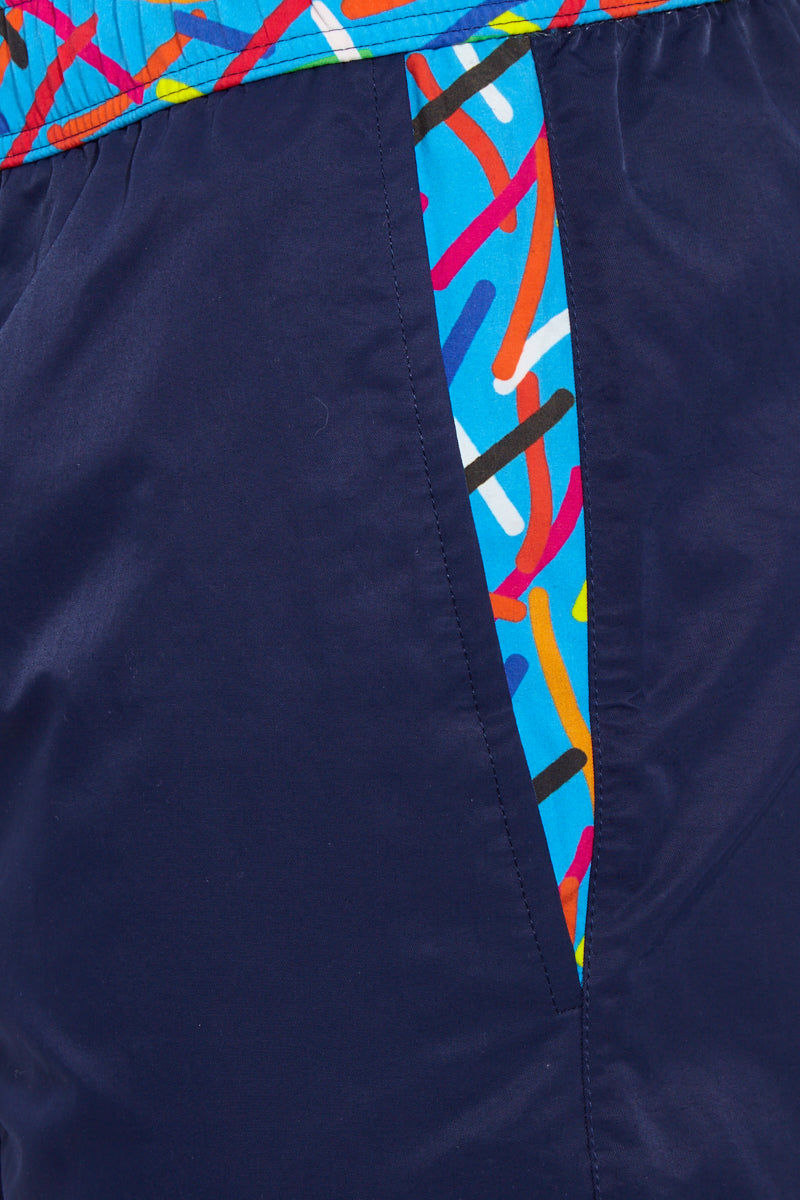 STTARWISH Ula Classic Length Swim Trunks - Ocean Blue Aqua Pop Art Mens Swim | Ocean Blue Aqua Pop Art| Sttarwish Ula Classic Length Swim Trunks - Ocean Blue Aqua Pop Art. Detailed View. Classic Length. Two side angle pockets. Zip pocket at back. Drawstring waist. Mesh net lining. Quick Drying