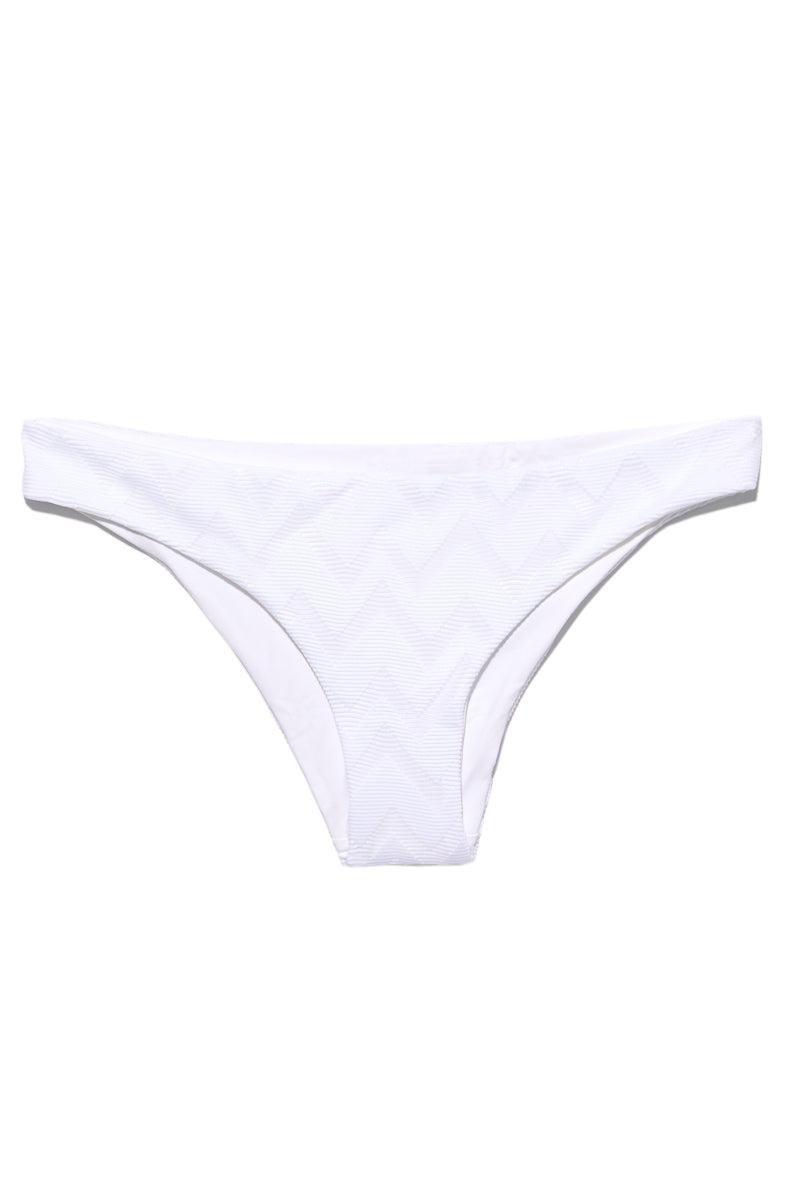TAVIK Ali Moderate Bottom - White Textured Chevron Bikini Bottom   White Textured Chevron  Tavik Ali Moderate Bottom - White Textured Chevron Flat Lay View