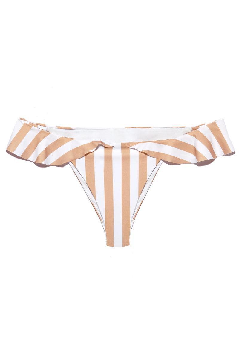 BEACH RIOT Brandy Ruffle Cheeky Bikini Bottom - Tan/White Stripe Bikini Bottom | Tan| Beach Riot Brandy Ruffle Cheeky Bikini Bottom - Tan. Flat lay view. Ruffle detailed bikini bottom. Tan color striped print fabric. Cheeky minimal coverage. High leg cut style.