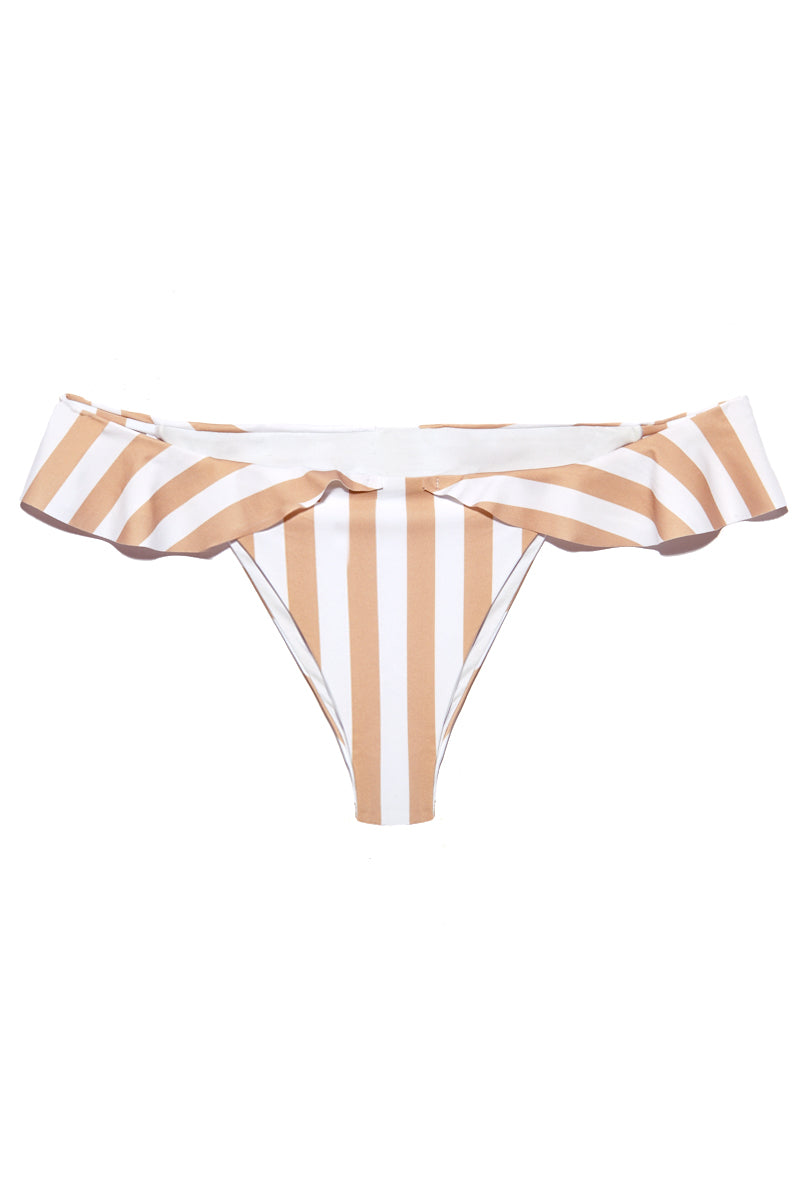 BEACH RIOT Brandy Ruffle Cheeky Bikini Bottom - Tan & White Stripes Bikini Bottom   Tan & White Stripes  Beach Riot Brandy Ruffle Cheeky Bikini Bottom - Tan & White Stripes. Features: Low-rise ruffle side strap skimpy bikini bottom in tan and white stripe print. Low-rise silhouette and overall minimal coverage are ideal for tanning. View: Flat lay.