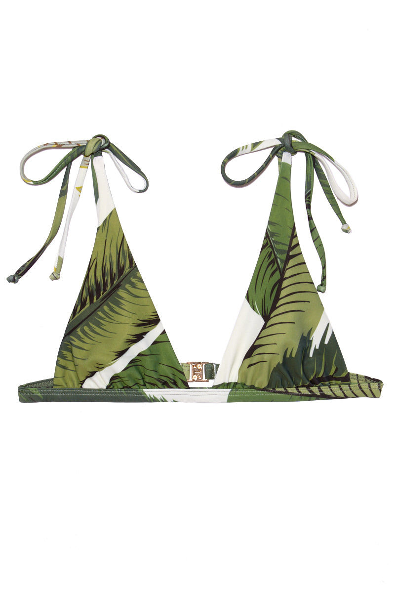 BEACH RIOT Marina String Tie Bikini Top - Palm Bikini Top   Palm  Beach Riot Marina String Tie Bikini Top - Palm. Flat lay view. Tropical print triangle bikini top. Adjustable straps. String tie Sides. Olive green color palm leaves print.