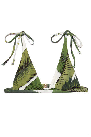 BEACH RIOT Marina String Tie Bikini Top - Palm Bikini Top | Palm| Beach Riot Marina String Tie Bikini Top - Palm. Flat lay view. Tropical print triangle bikini top. Adjustable straps. String tie Sides. Olive green color palm leaves print.