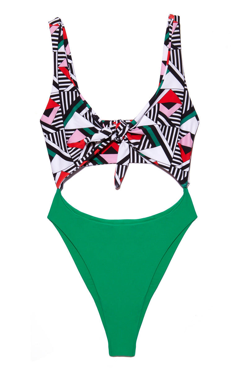 LEE + LANI Deco High Hip Tie Front One Piece - Deco/Cool Green One Piece | Deco/Cool Green| Lee + Lani Deco High Hip Tie Front One Piece Flat Lay View Art Deco Inspired One Piece Front Keyhole Cut Out Front Knot Tie Super High Leg Cut Wide Shoulder Straps Green Fabric on Bottom Wide Back Band Low Back