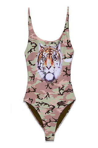 WILDFOX Kenny One Piece - Camo With Tiger One Piece | Camo With Tiger| Wildfox Kenny One Piece Allover Camouflage Print One Piece Swimsuit Tiger Graphic Print on Front Scoop Neck High Cut Leg Non-Adjustable Straps Low Scoop Back Cheeky Coverage Runs Small