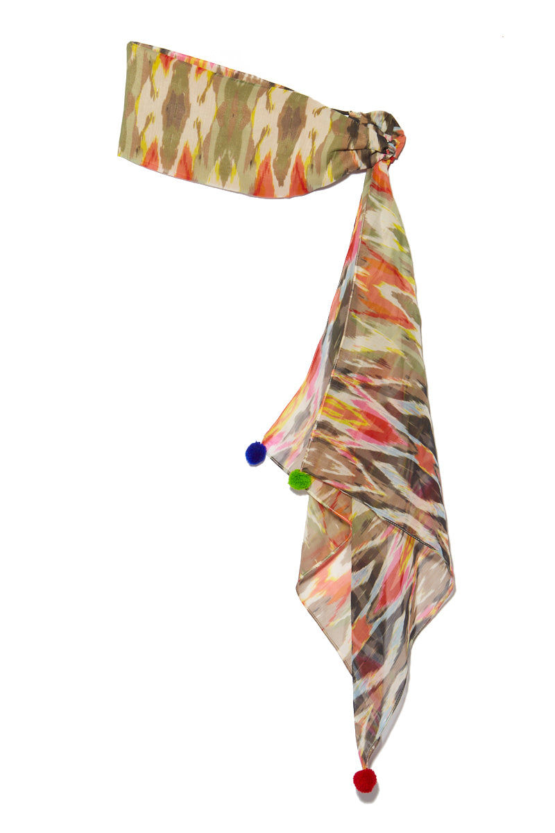 NAMJOSH Colorful Terrain Headscarf Hair Accessories | Multi Print| Namjosh Colorful Terrain Headscarf Flatlay View  Colorful Headscarf Pom Pom Detail India-based Design