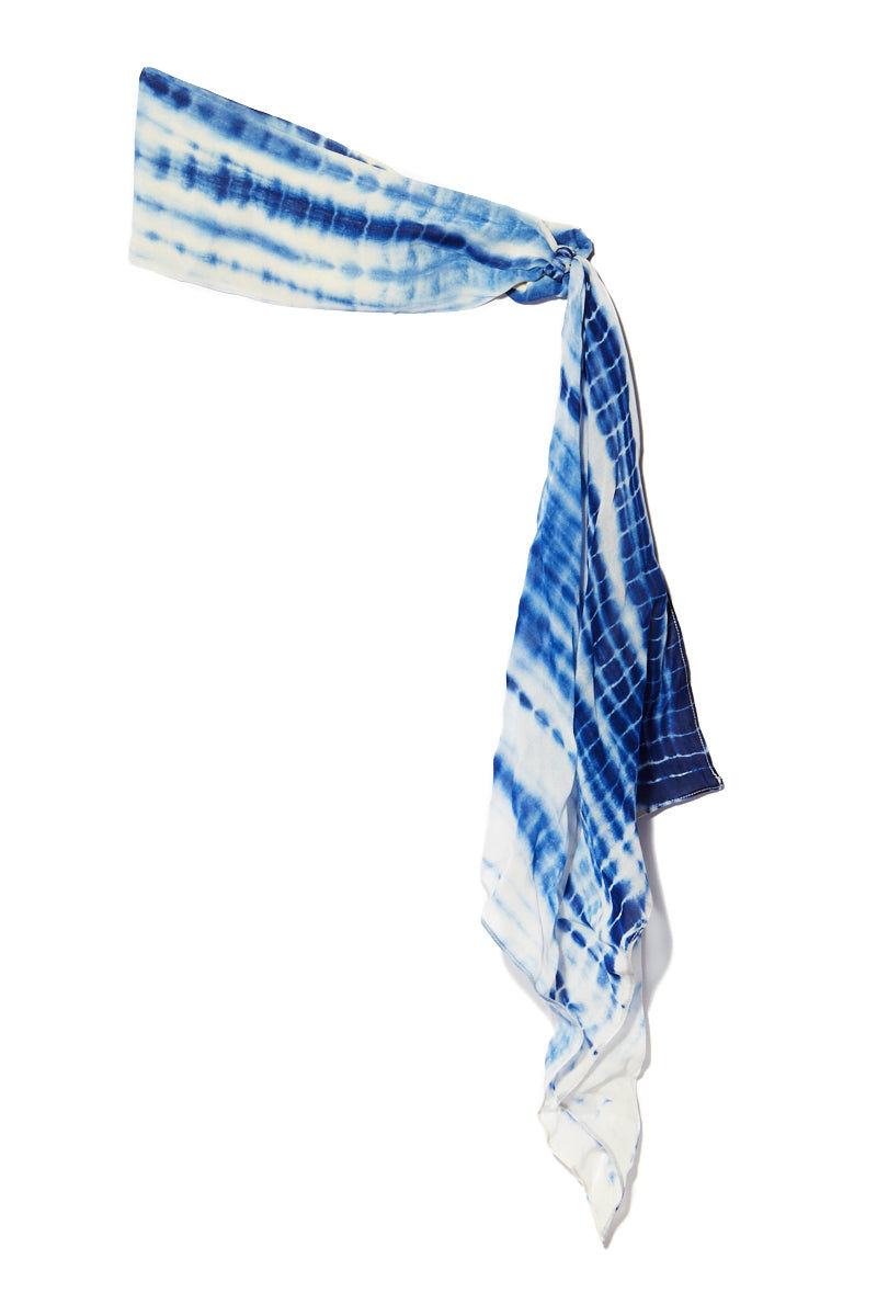 NAMJOSH Tie Dye Headscarf Hair Accessories   Blue Tie Dye  NamJosh Tie Dye Headscarf Flatlay View