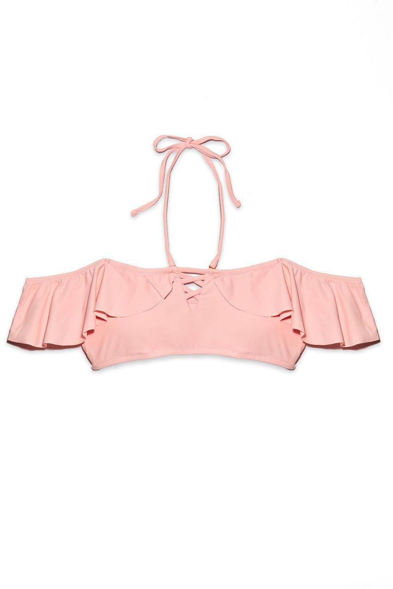 RAISINS Tulum Flounce Bandeau Bikini Top - Bubble Gum Pink Bikini Top | Bubble Gum Pink| Raisins Tulum Flounce Bandeau Bikini Top - Bubble Gum Pink. Back View. Bandeau Bikini Top. Off Shoulders. Ruffle Overlay. Lace up front.