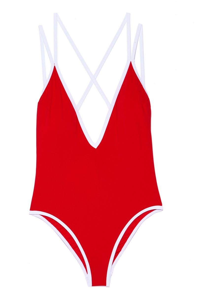 BEACH JOY Sporty Deep V One Piece - Scarlet One Piece | Scarlet| Sporty Deep V One Piece - Scarlet. Flat Lay View.  Features:  Red high leg one piece Deep v plunging neckline Crisscross strappy string detail Cheeky minimal coverage