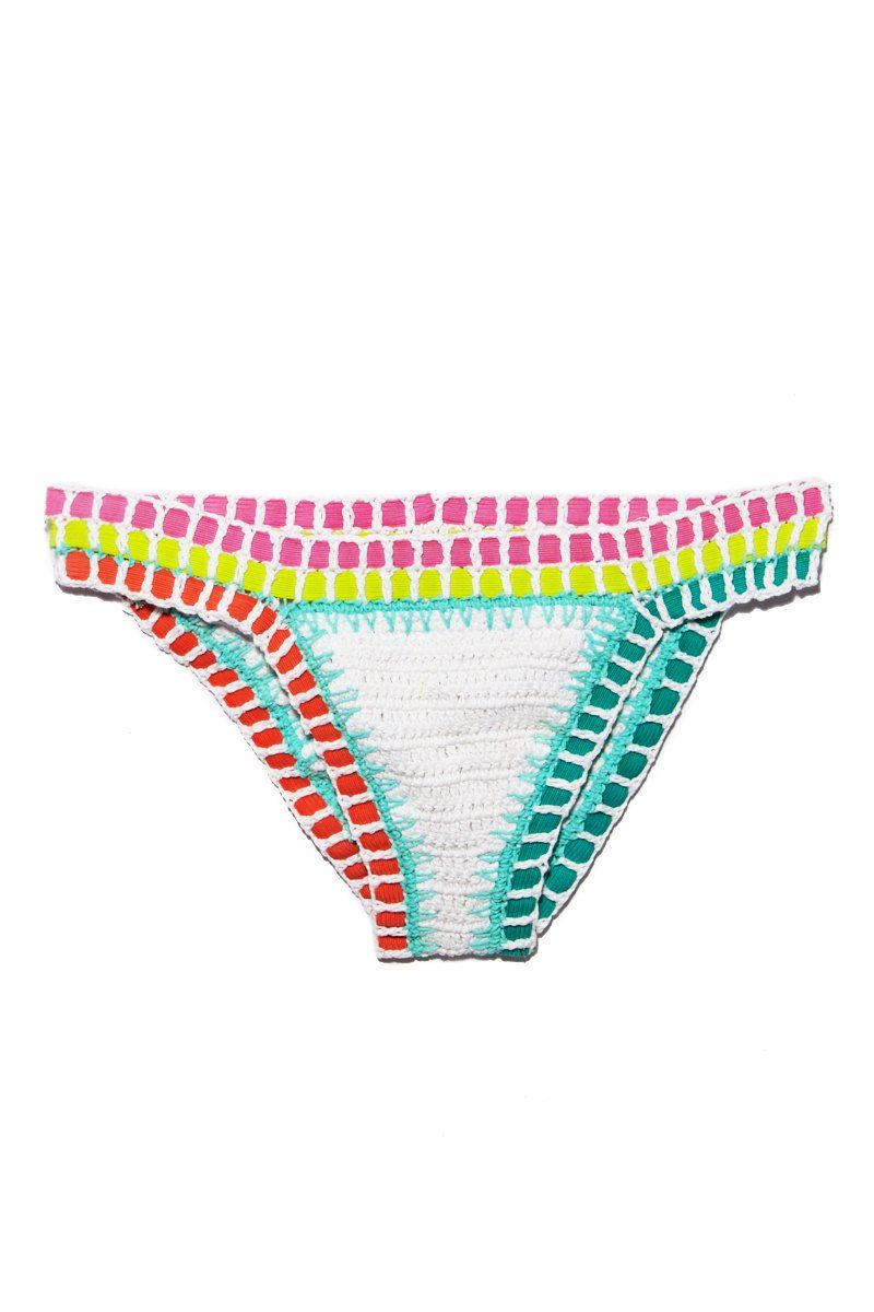BEACH JOY Crochet Bottom - White Color Block Bikini Bottom | White Color Block| Beach Joy Crochet Bottom - White Color Block