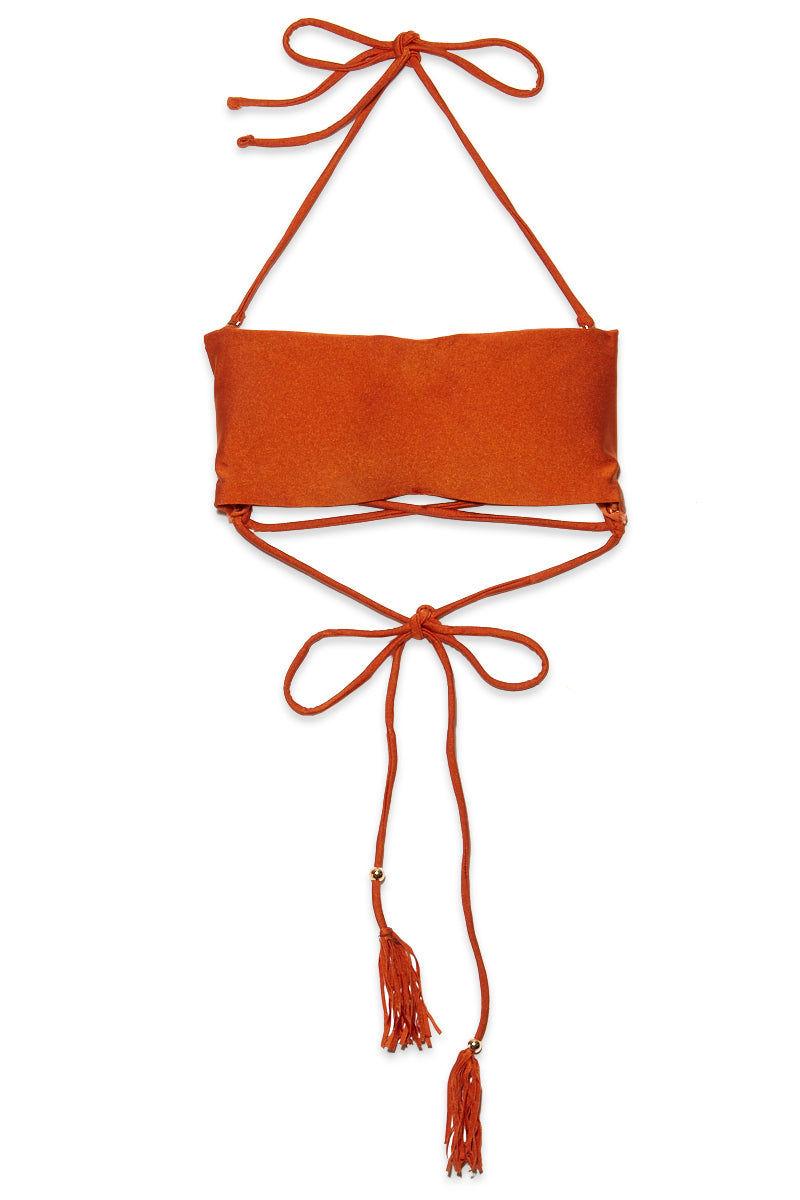 YSHEY Rachel Duchesse Top Bikini Top | Rusty Orange| YSHEY Rachel Duchesse Top - flat front view Metallic Orange lattice-back strapless bandeau bikini top with removable halter neck ties