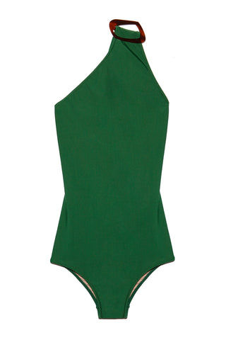 ADRIANA DEGREAS One Shoulder Buckle One Piece - Green One Piece | Green| Adriana Degreas One Shoulder Buckle One Piece Swimsuit- Green Features:  One shoulder one piece Brown Tortoiseshell buckle hardware at shoulder Cutout at scoop back High neck style Moderate to full coverage bottom Flatlay View