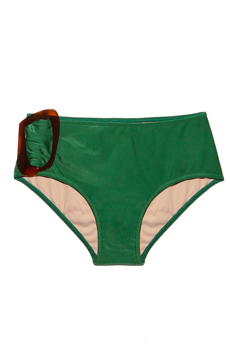 ADRIANA DEGREAS One Sided Buckle Bikini Bottom - Green Bikini Top | Green| Adriana Degreas One Sided Buckle Bikini Bottom - Green Features:  Green bikini bottom Brown buckle hardware at side Mid rise moderate coverage  Flatlay View