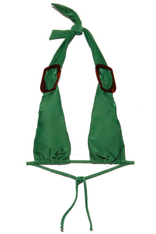 ADRIANA DEGREAS Long Triangle With Buckle Bikini Top - Green Bikini Top | Green|Adriana Degreas Long Triangle With Buckle Bikini Top - Green Features:  Green triangle bikini top Brown buckle hardware at sides Halter neck style Adjustable string tie back Vibrant green color Flatlay View