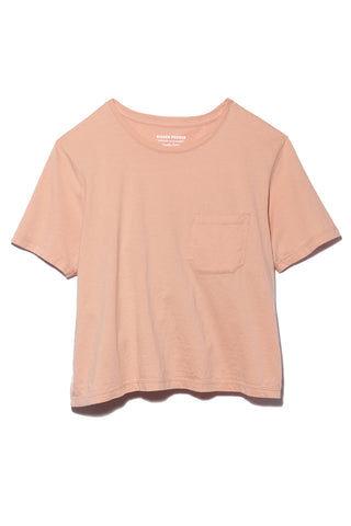 RICHER POORER Boxy Crop Tee - Blush Top | Blush| Richer Poorer Boxy Crop Tee - Blush Flatlay View Short Sleeve Boxy Crop T Shirt Banded Crew Neck Workman Style Pocket 100% Organic Cotton