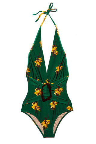 ADRIANA DEGREAS Josephine Baker Halterneck One Piece Swimsuit - Green One Piece | Green|Adriana Degreas Josephine Baker Halterneck One Piece Swimsuit - Green Features:  Plunging string tie one piece Brown buckle hardware at front Adjustable string halter neck tie Vibrant green color with yellow banana detail print Moderate coverage bottom Flatlay View