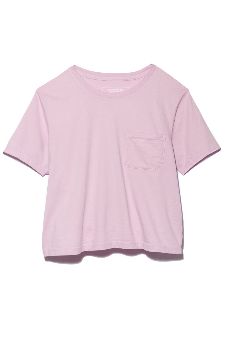 RICHER POORER Boxy Crop Tee - Lilac Top   Lilac  Richer Poorer Boxy Crop Tee - Lilac Flatlay View Short Sleeve Boxy Crop T Shirt Banded Crew Neck Workman Style Pocket 100% Organic Cotton